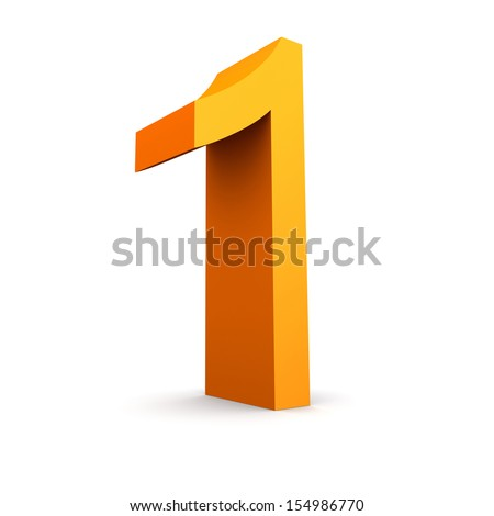 Collection of orange numbers on a white background - stock photo