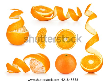 Collection of orange, slice and orange peeled skin isolated white background - stock photo
