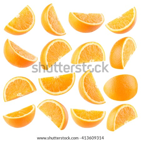 Collection of 16 orange slices isolated on white background - stock photo