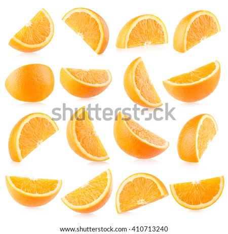 Collection of 16 orange slices with light shadows - stock photo