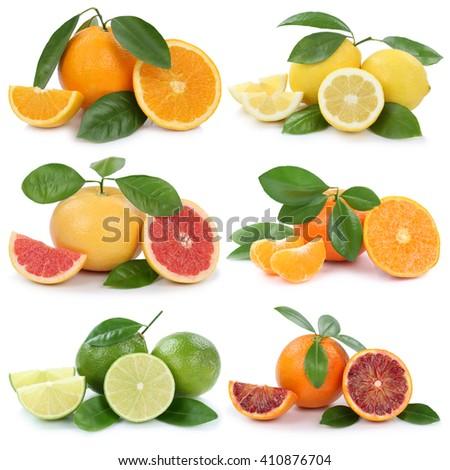 Collection of oranges lemons grapefruit fruits isolated on a white background - stock photo