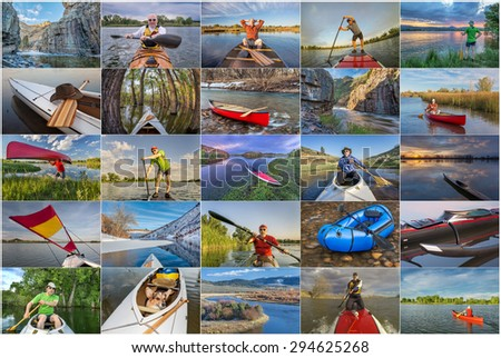 collection of paddling pictures from Colorado featuring variety of boats (kayak, canoe, outrigger,packraft, stand up paddleboard) and the same male model - stock photo