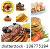 Collection of Pancakes with Fritters, Thin Hotcakes, Berries, Chocolate Glaze and Sugar Powder - stock photo