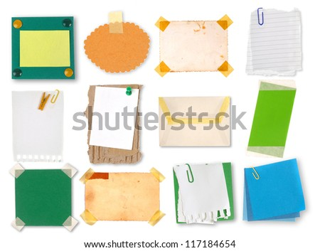 Collection of  paper notes and tags - stock photo