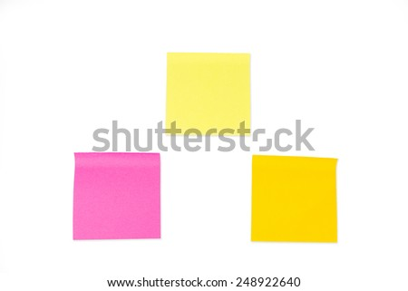 Collection of paper notes on white background. - stock photo