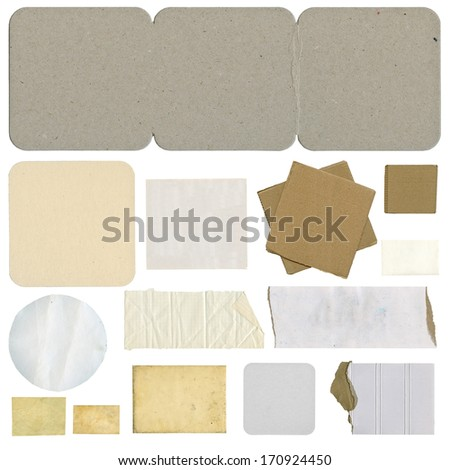 Collection of paper tears, isolated on white background - stock photo