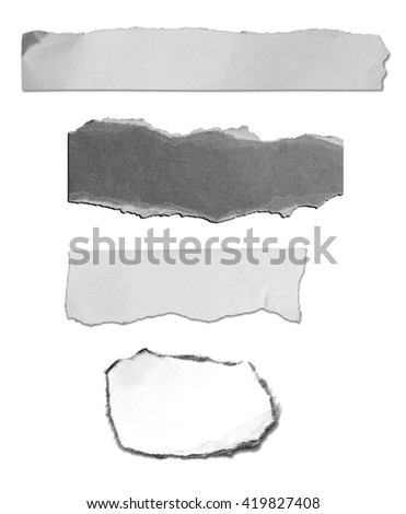 Collection of paper tears, isolated on white background.