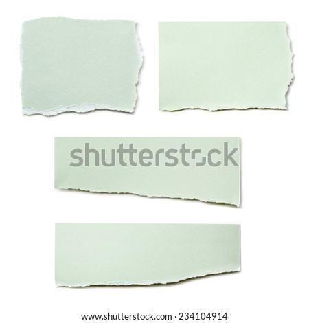 Collection of paper tears, isolated on white.  Pastel green. - stock photo