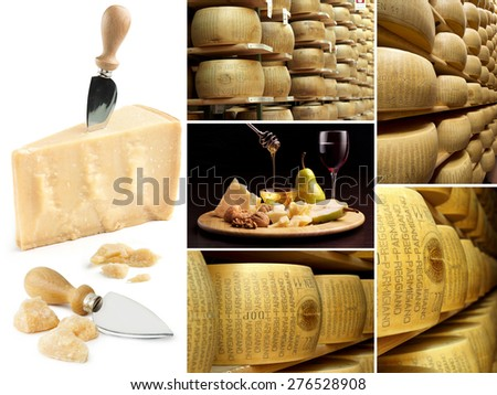collection of parmesan and wheels of cheese in a factory  - stock photo