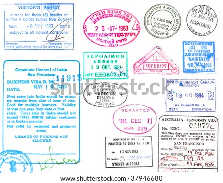 Collection of passport stamps and visa on a white background