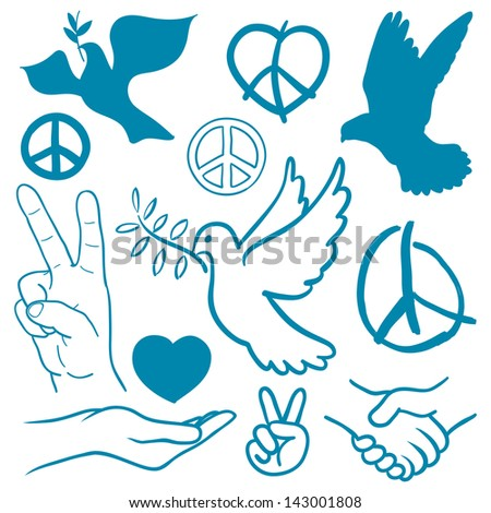 Collection of peace and love themed icons with white doves flying carrying olive branches, v-sign hand gesture, handshake of friendship, hearts, a cupped nurturing hand and v-sign antiwar icon - stock photo