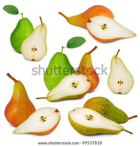 Collection of pears with slices isolated on white - stock photo