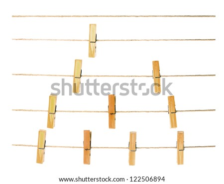 collection of peg on rope ,white background - stock photo