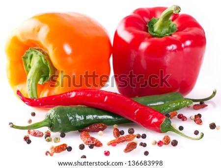 collection of peppers isolated on white background - stock photo