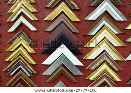 Collection of photo corners, frames and edges isolated on red background - stock photo