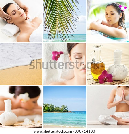 Collection of photos about massaging and recreation opportunities in Thailand.