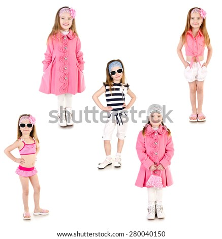Collection of photos adorable smiling little girl posing isolated on a white - stock photo