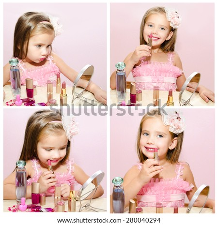 Collection of photos child cosmetics adorable little girl with lipstick and mirror isolated - stock photo