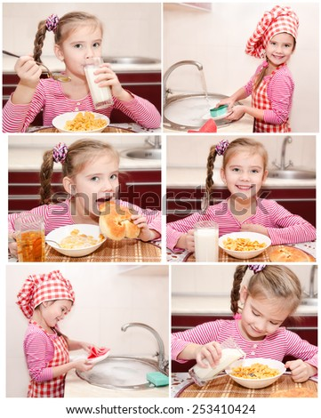 Collection of photos cute little girl having breakfast and washing the dishes  - stock photo
