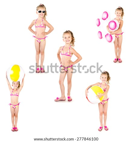 Collection of photos cute little girl with ball and inflatable rubber ring in sunglasses isolated on a white - stock photo