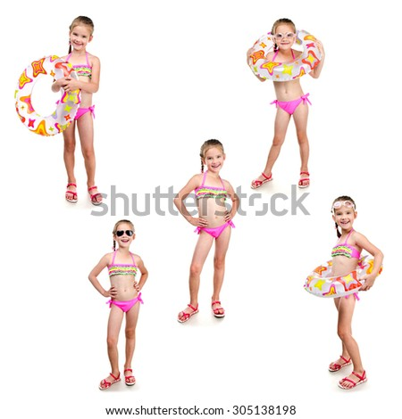 Collection of photos cute little girl with swimming ring in sunglasses isolated on a white - stock photo