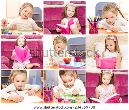 Collection of photos cute little girl writing reading and drawing in classroom - stock photo