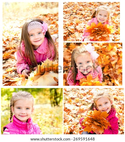 Collection of photos cute smiling little girl in autumn leaves outdoor - stock photo