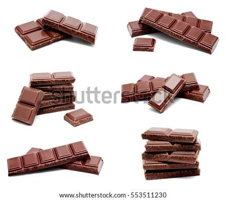 Collection of photos dark milk chocolate bars stack isolated on a white background