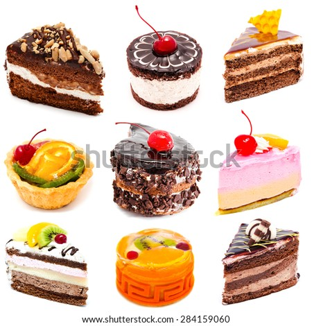 Collection of photos delicious cakes isolated on a white background - stock photo