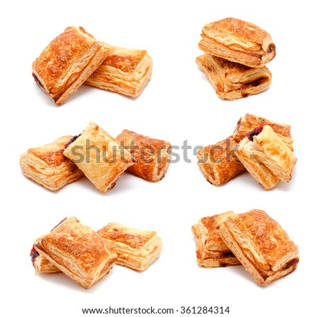 Collection of photos fresh puff pastries isolated on a white background - stock photo