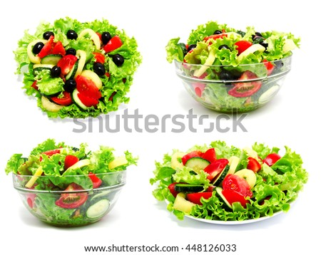 Collection of photos fresh vegetable salad isolated on a white background