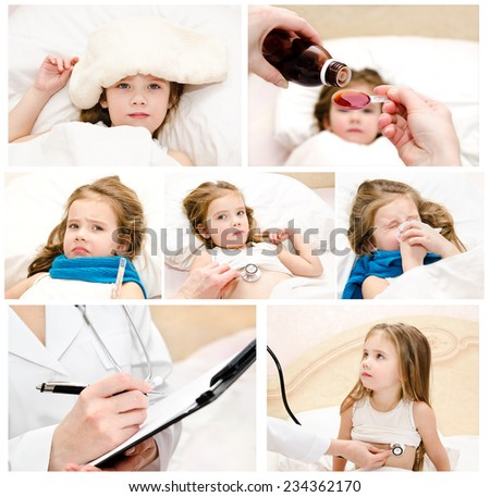 Collection of photos ill little girl and doctor - stock photo