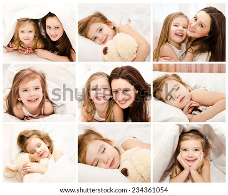 Collection of photos little girl in the bed and her mother at home - stock photo