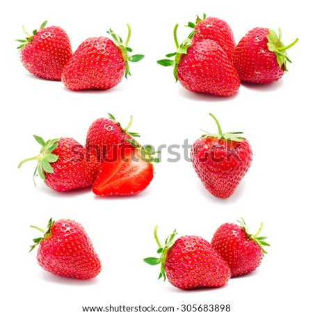 Collection of photos perfect red ripe strawberry isolated on a white - stock photo