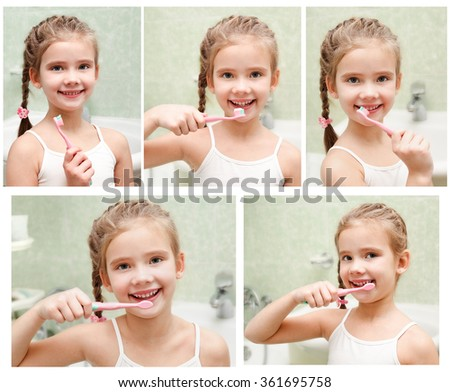 Collection of photos smiling cute little girl brushing teeth in bathroom hygiene concept - stock photo