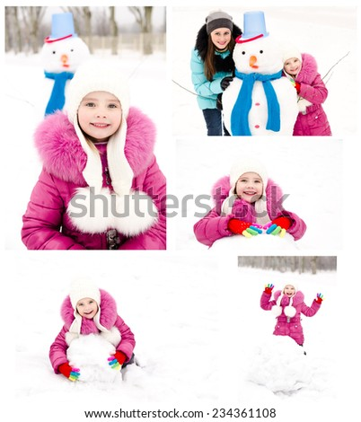 Collection of photos smiling little girl in winter day outdoor - stock photo
