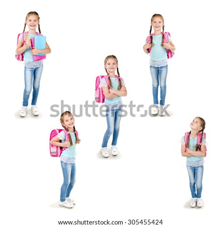 Collection of photos smiling schoolgirl with backpack and books isolated on a white background - stock photo