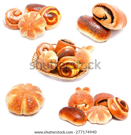 Collection of photos sweet buns and rolls with poppy and raisin isolated on a white - stock photo