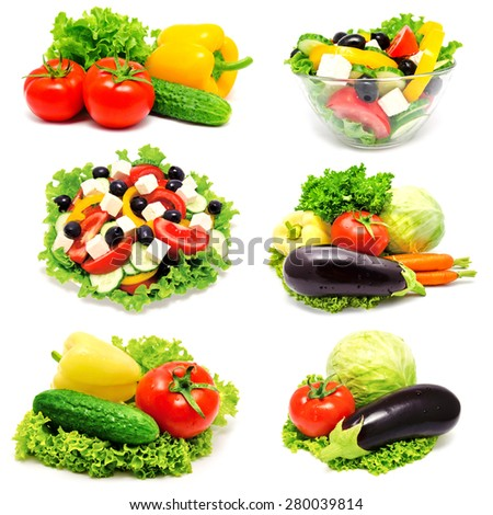 Collection of photos vegetables and greek salad isolated on a white - stock photo