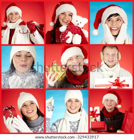 Collection of photos with happy Christmas people