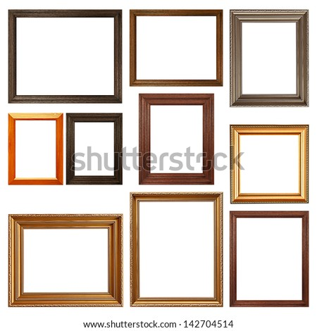 Collection of picture frames on white background