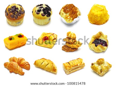 collection of pie on white background