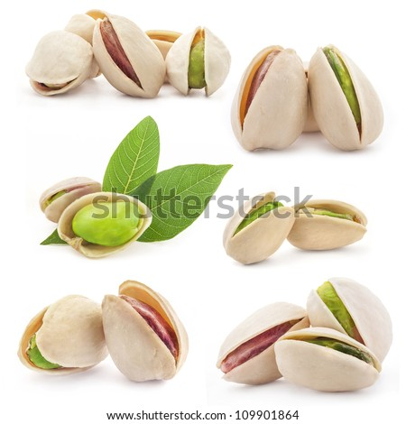 Collection of Pistachio nuts, fruits isolated on white background - stock photo