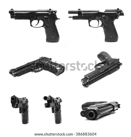 Collection of Pistol handgun weapon isolated on white background - stock photo