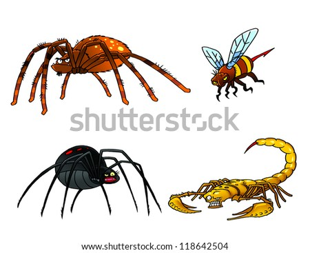Collection of poisonous insects. Tarantula, black widow, scorpion, hornet. - stock photo