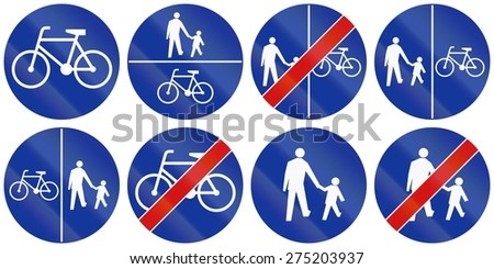 Collection of Polish road signs for bike and foot paths.
