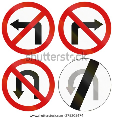 Collection of Polish traffic signs prohibiting turns. - stock photo