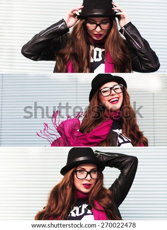 Collection of portraits of the stylish girl with a pink scarf