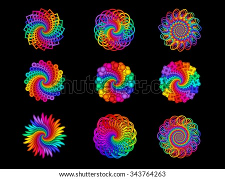 Collection Of Psychedelic Rainbow Spiral Medallion Motifs