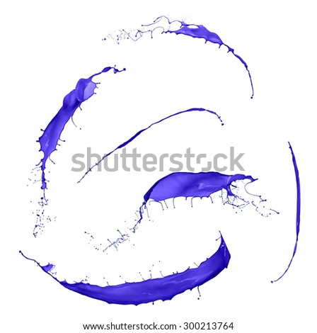 collection of purple paint splashes isolated on white background - stock photo